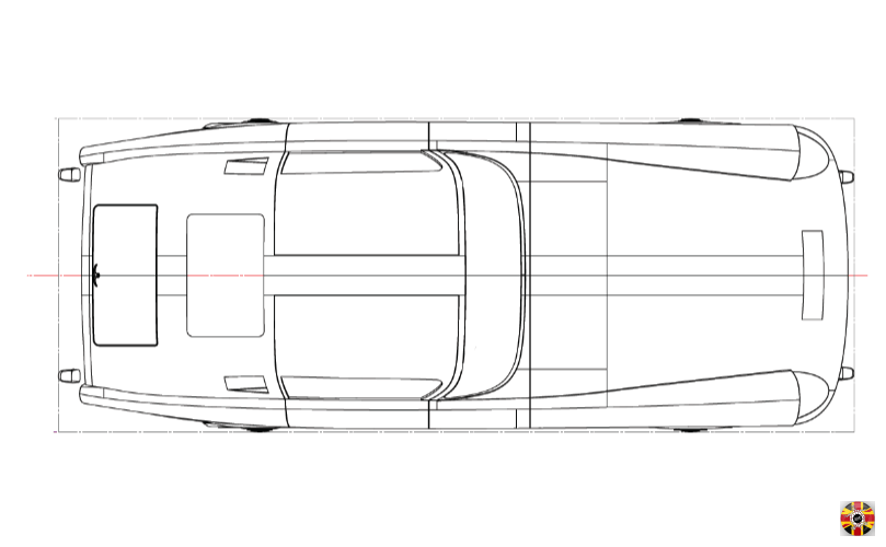 Mystery Car technical drawing plan view of 3D CAD design created by 3D Engineers in Solidworks.