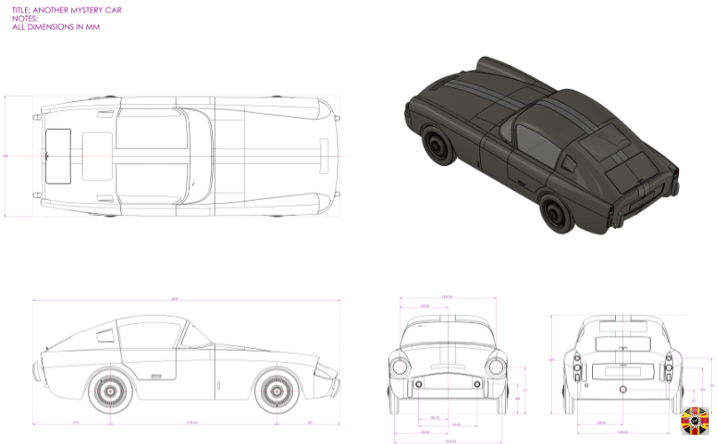 Mystery Car technical drawing of 3D CAD design created by 3D Engineers in Solidworks and Modo.