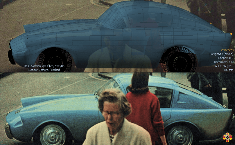 Mystery Car, pictured and then CAD surface created by 3D Engineers using photo matching.