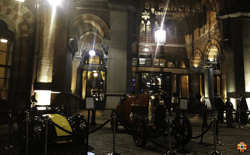 Lister Knobbly and Fiat S76 Edwardian racing car outside St Pancras hotel for International Historic Motoring Awards.