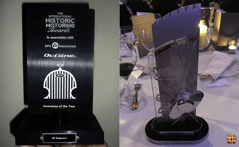 International Historic Motoring Awards multiple award winning business 3D Engineers shows trophies won.