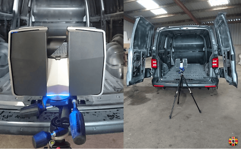 3D Engineers laser scanning a van vehicle interior to enable design and manufacture of a ply-lining kit.
