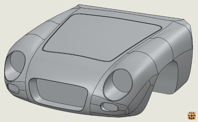 Lancia Appia GTE front end 3D CAD created in Solidworks, using surfacing techniques, by 3D Engineers.
