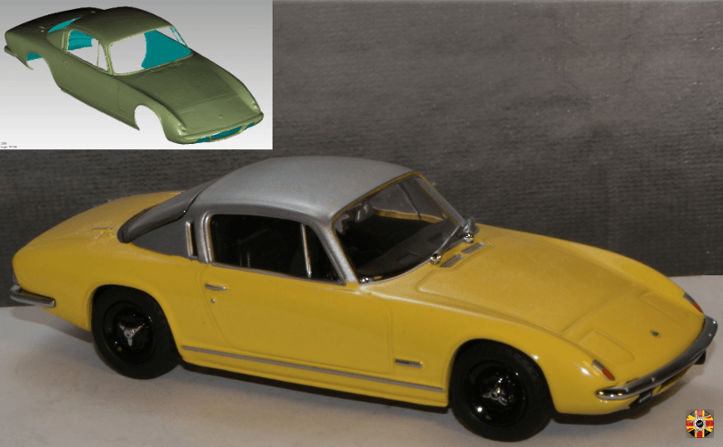 Lotus Elan Plus 2 polygon surface, created from a 3D Engineers scan, used to create yellow model.