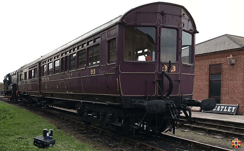 Didcot railway motor 3D laser scanned by 3D Engineers outside with no power required.