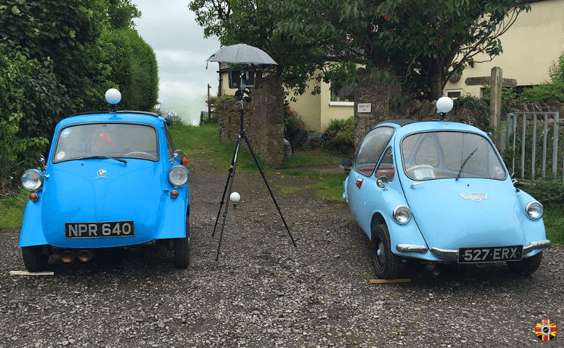 3D engineers can laser scan two cars at same time, even outside, in this case BMW micro cars.