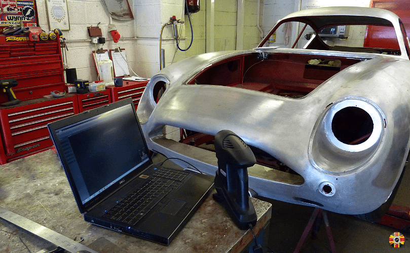 Aston Martin Zagato body conversion from DB5 laser scanned by 3D Engineers. Car shown in bare aluminium.