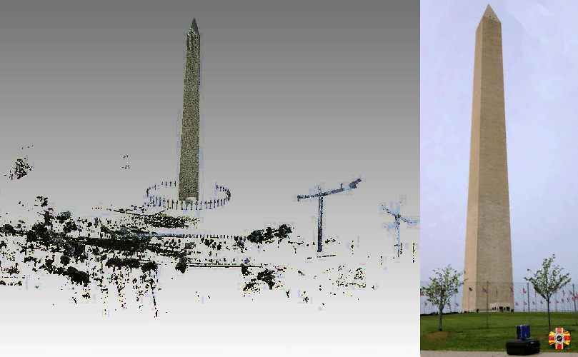Scanning with 3D laser equipment the Washington Monument. 3D Engineers scanning service is worldwide and extensive.