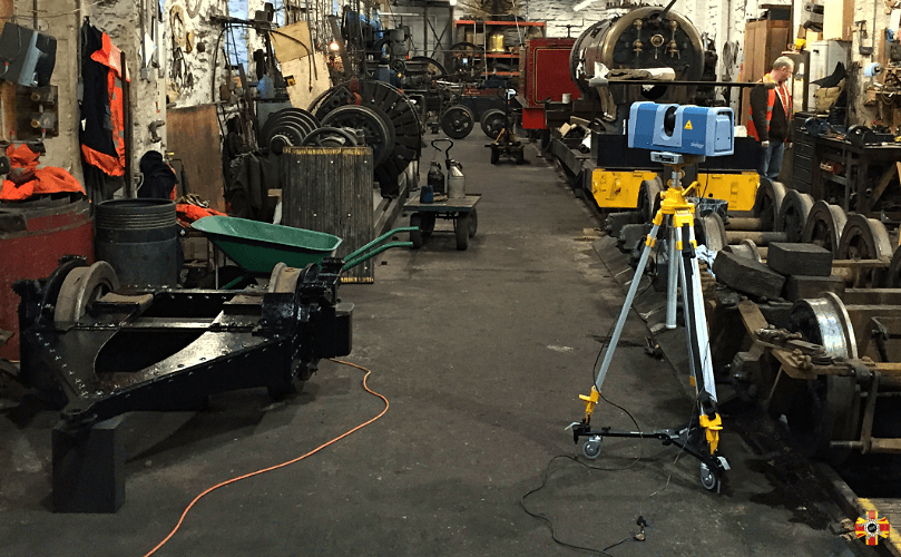 3D Engineers laser scanning equipment at a railway yard in Isle of Man 3D scanning locomotive parts.
