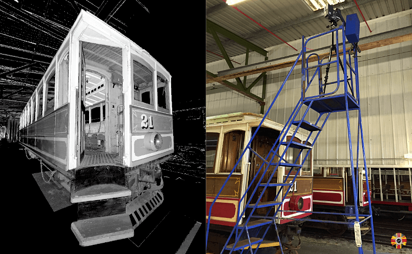 Isle of Man Manx Railway trams 3D laser scanned by 3D Engineers. Scanner picture also shown