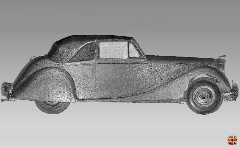 Jaguar MKV convertible 3D laser scan point cloud created by 3D Engineers. Side elevation shown.