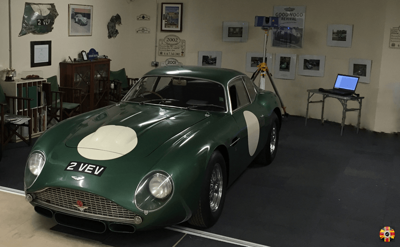 Iconic classic car, Aston Martin Zagato 2 VEV, being 3D laser scanned by 3D Engineers.