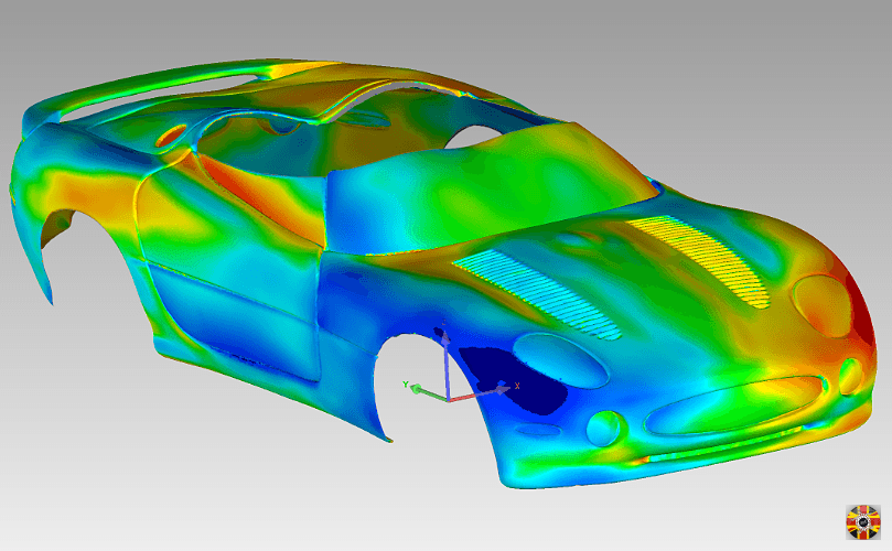 Jaguar XK180 polygon surface created from a 3D laser scan mirrored to compare symmetry by 3D Engineers.