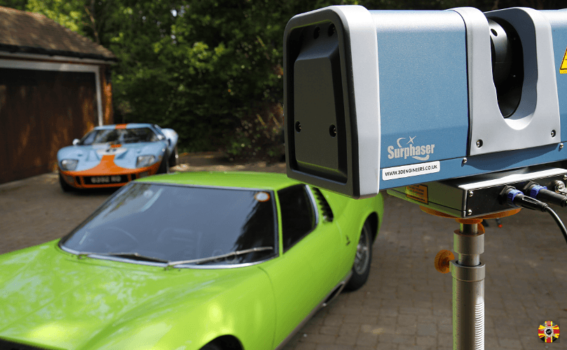 Lamborghini Miura 3D laser scanned by 3D Engineers with replica Ford GT40 in background.