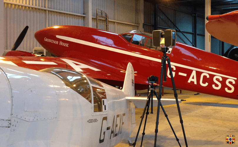 de Havilland DH.88 Comet racing aeroplane about to be laser scanned by 3D Engineers for model maker.