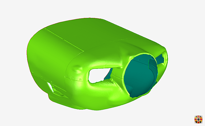 Private aeroplane nosecone 3D laser scanned by 3D Engineers and post-processed into polygon surface.