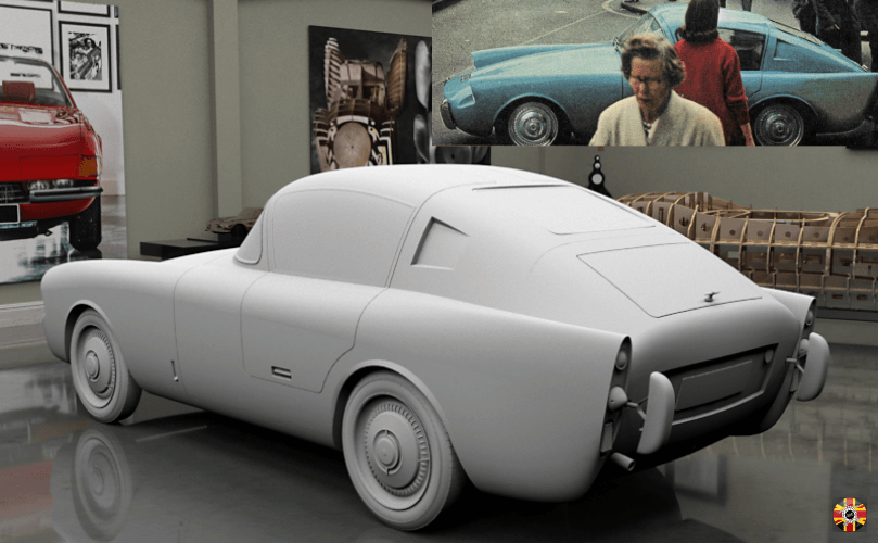 Mystery British car in CG room created by 3D Engineers. Inset original and only picture of vehicle.