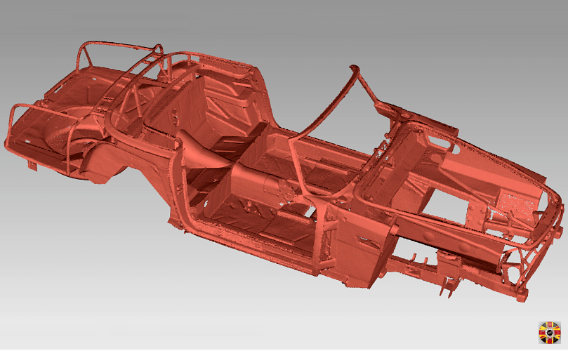 Aston Martin DB5 convertible Volante classic car chassis, point cloud created using 3D Engineers laser scanning service.