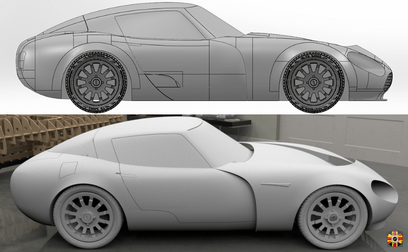 TVR Griffith and Aston Martin DB5 inspired concept car created by 3D Engineers. Side elevation shown.