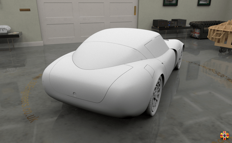 TVR Griffith and Aston Martin DB5 inspired concept car created by 3D Engineers. Rendered in virtual room.