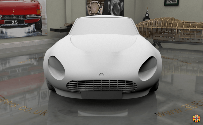 TVR Griffith and Aston Martin DB5 inspired concept car by 3D Engineers. Front shown in CG room.