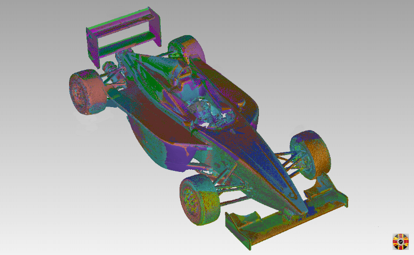BMW racing car, point cloud joined together using 3D Engineers laser scanning service. Most vehicles 3D scanned.