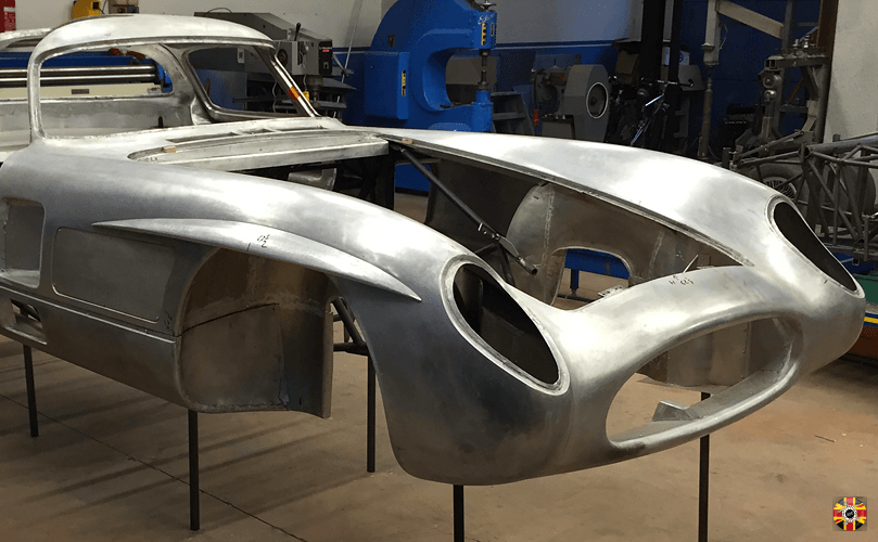 Aluminium car body unpainted, 3D laser scanned by 3D Engineers to assist creation of body buck.