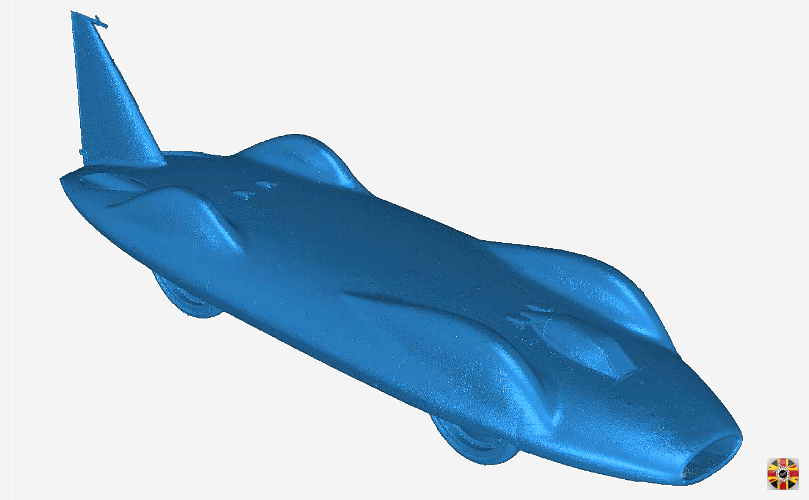 Bluebird CN7 record breaking car, point cloud created using 3D Engineers laser scanning service. Most vehicles scanned.