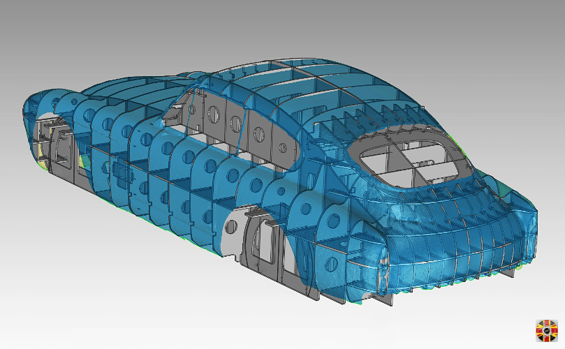 Aston Martin DB MKIII car section buck designed by 3D Engineers visualized with CAD body surface overlaid.