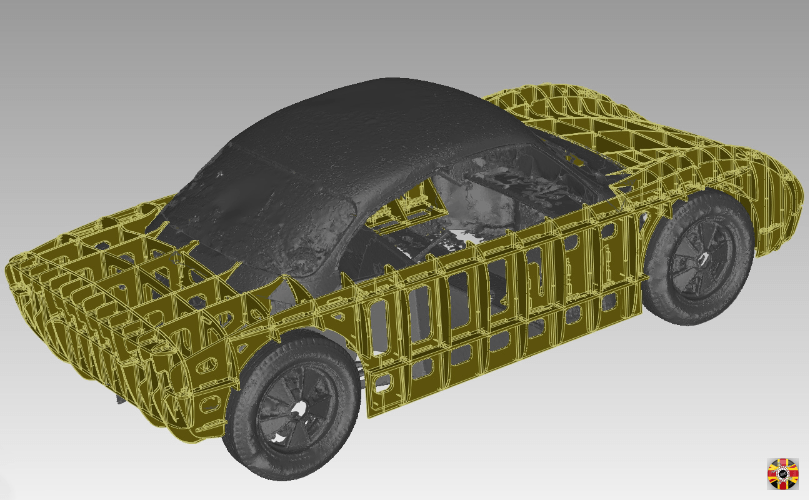 Okrasa Special car section buck designed by 3D Engineers fitted around and on chassis visualized in CAD.