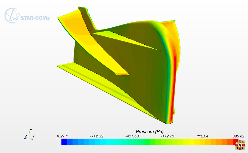 Racing car wing splitter created in CAD by 3D Engineers for checking air flow over car.