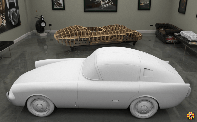 Mystery Car, created in CAD in computer-generated room. Lister Costin and Jaguar C-Type bucks in background.
