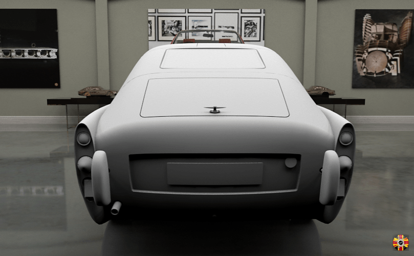 Mystery Car, created in CAD. Shown in a computer-generated room. Both designed by 3D Engineers.