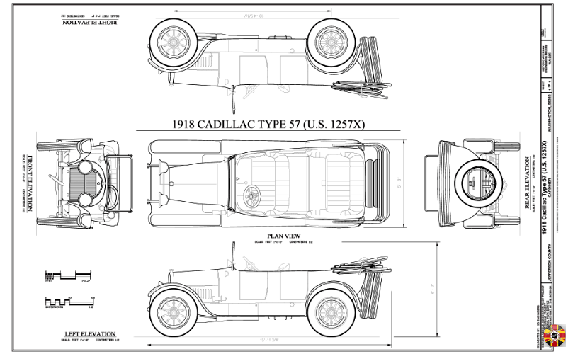Cadillac Type 57 from 1918 technical drawing plan created by 3D Engineers for US library of congress.