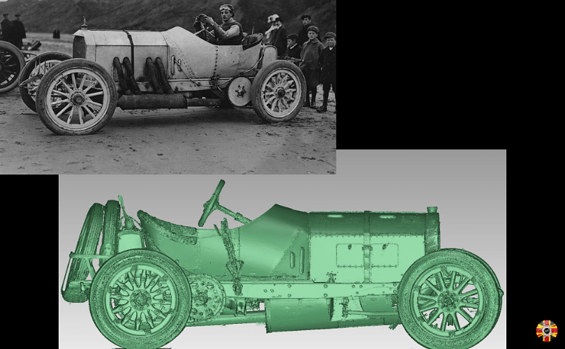 Mercedes veteran GP racing car 3D laser scanned by 3D Engineers to scale down for model making purposes.