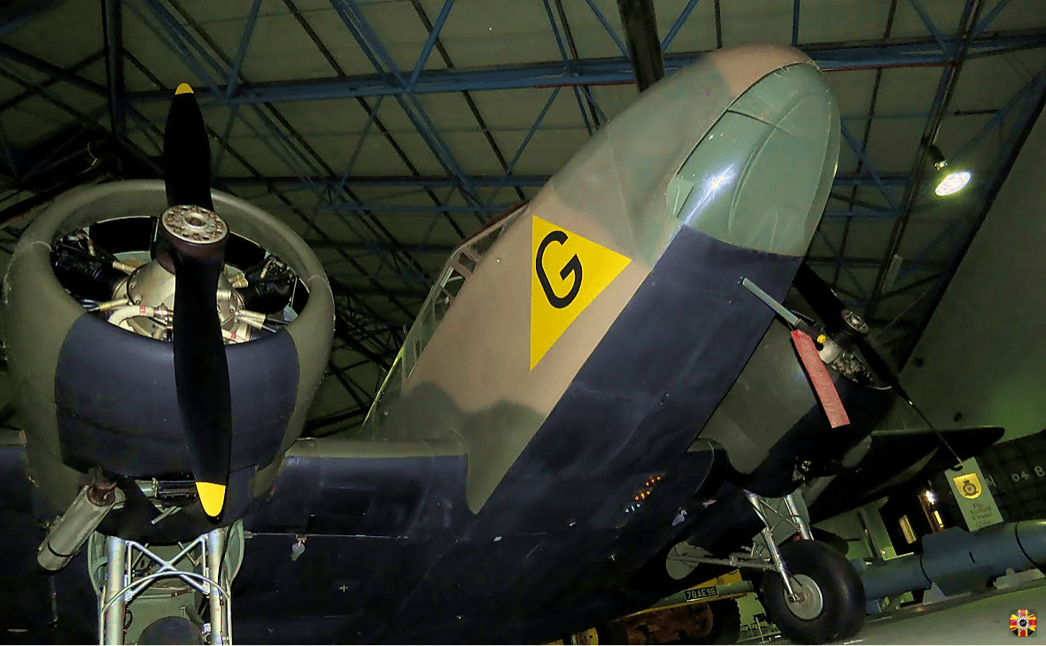 Airspeed Oxford aeroplane ready for 3D Engineers to laser scan at Hendon museum.
