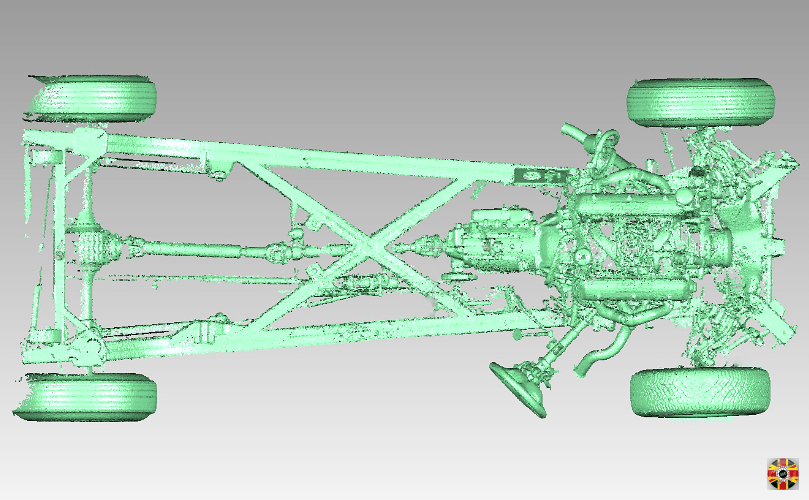 Classic car chassis 3D laser scanned by 3D Engineers to assist in creation of kit cars and specials.