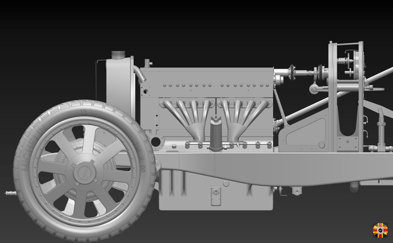 CAD render of Bugatti Type 35 engine and front chassis area. Created in Solidworks by 3D Engineers.