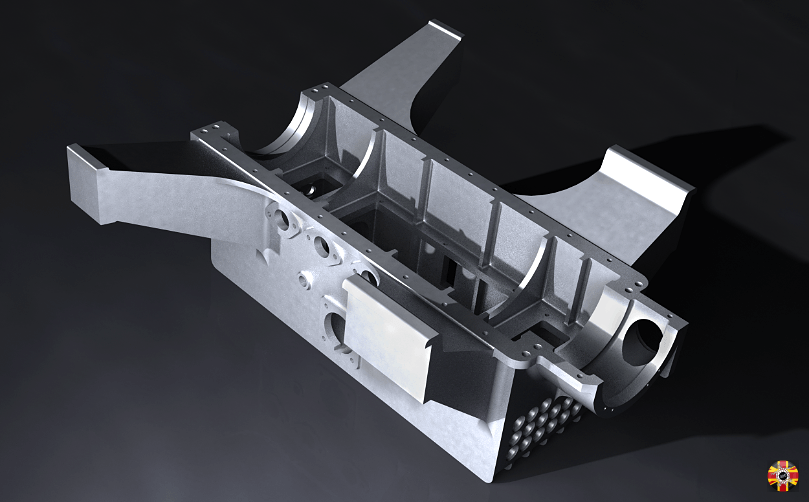 Bugatti Type 35, 1924, engine crankcase created in 3D CAD from plans by 3D Engineers.