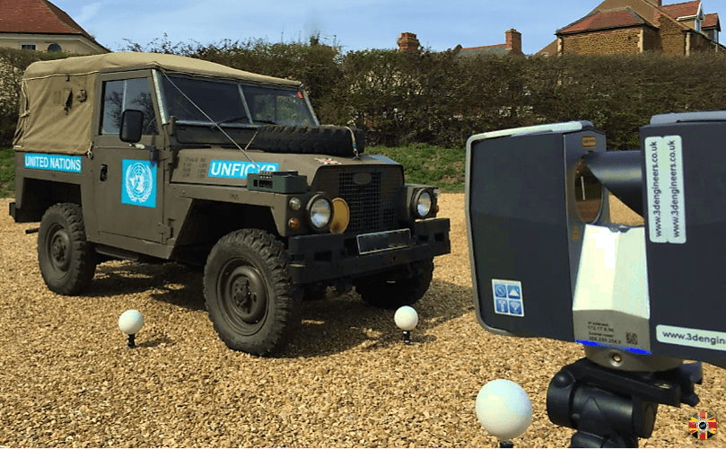 3D Engineers laser scan classic Land Rover. Scan undertaken outside and with no external power required.