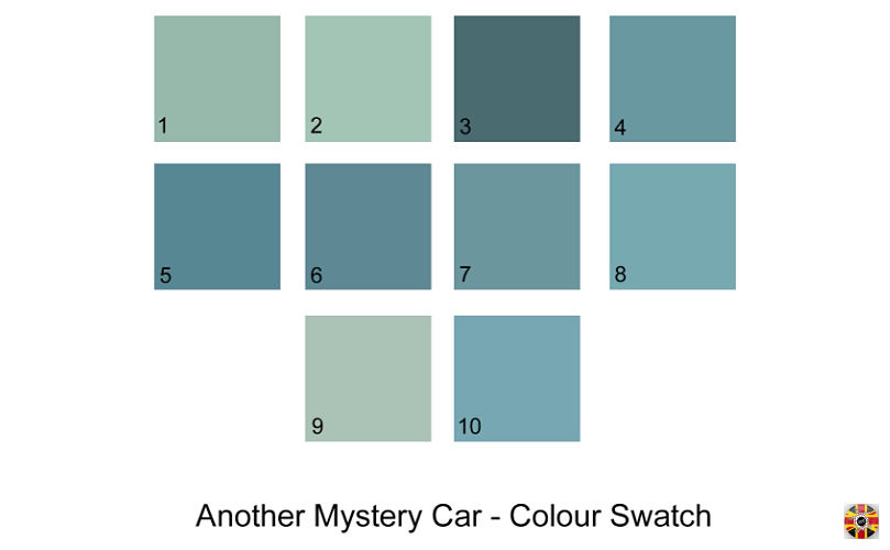 Color Swatch of paintwork of a Mystery Car, sampled by 3D Engineers from a picture.