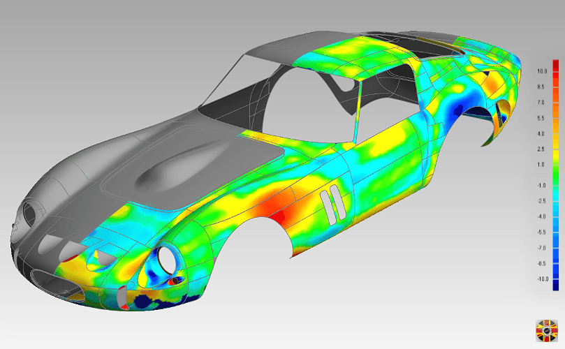Ferrari 250 GTO CAD surface compared against original scan data to ensure accuracy of surface created.