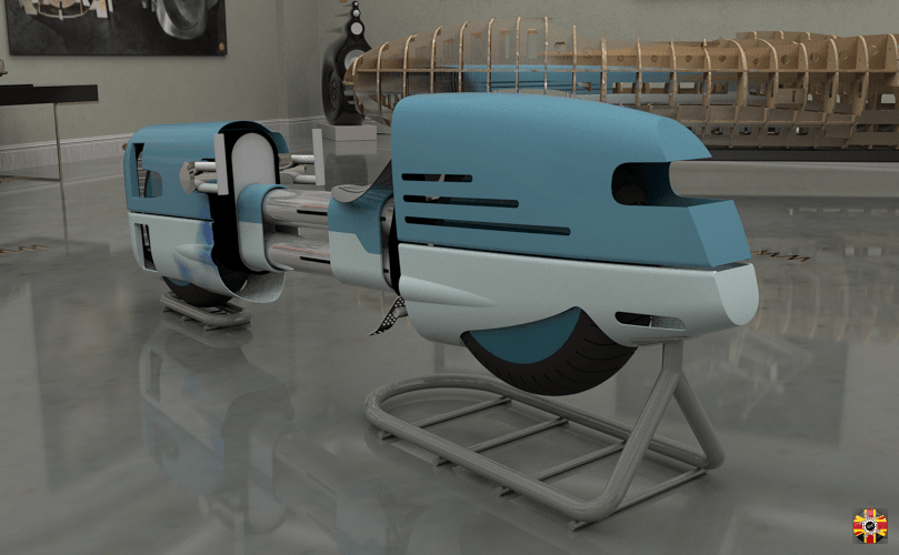 Rear of a speeder style motorbike pictured within a CG room. All designs created by 3D Engineers.