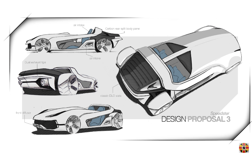 Speeder style car design sketch proposals as commissioned by 3D Engineers for a client.
