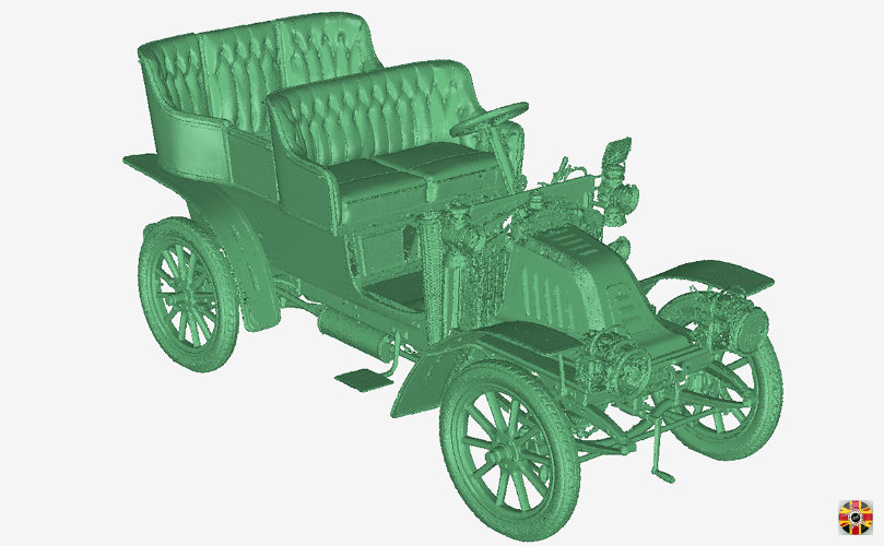 Veteran car, 1905 Corre, point cloud from 3D Engineers laser scanning service. Vehicles of all types scanned.