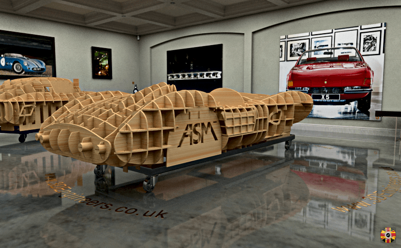 Aston Martin DBR1 classic car egg crate body buck designed by 3D Engineers. Rendered in CG room.