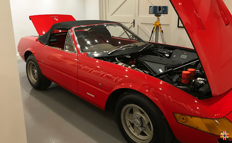 3D Engineers scan Ferrari Daytona engine and boot interior as insurance in case worst happens.