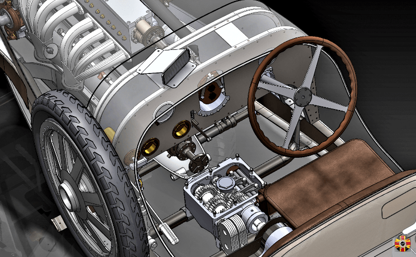 Bugatti Type 35 from 1924. Every part created in CAD by 3D Engineers using Solidworks.