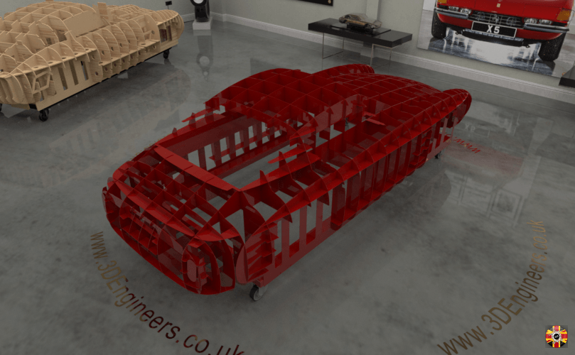 Ferrari 250 SWB full scale steel section buck designed by 3D Engineers from original car scan data.