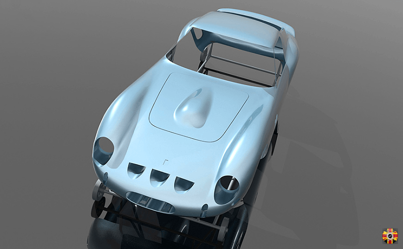 Ferrari 250 GTO surface model created from CAD design and 3D scans by 3D Engineers.